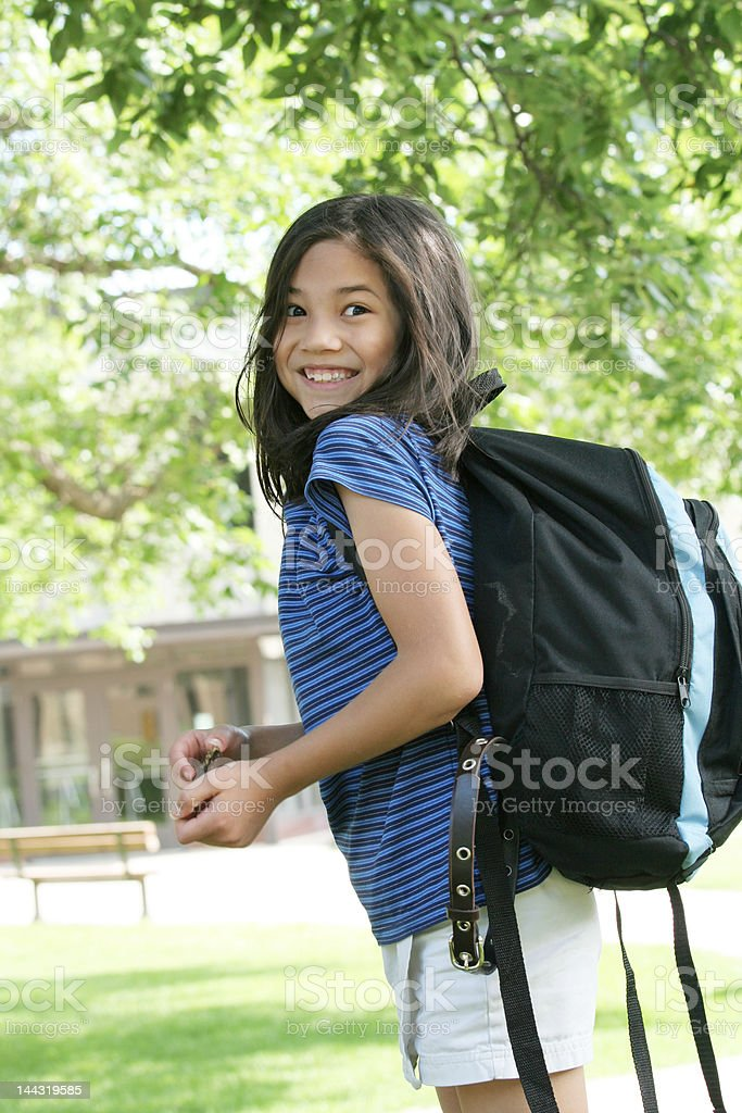 Child excited about first day of school royalty-free stock photo