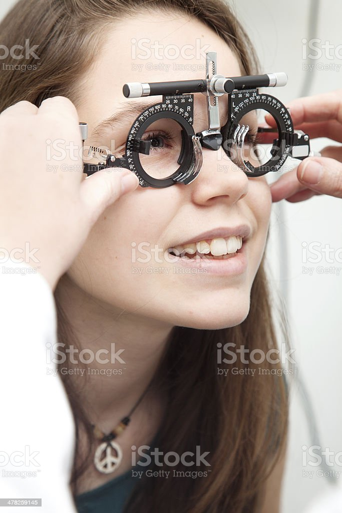 Child eye exam stock photo