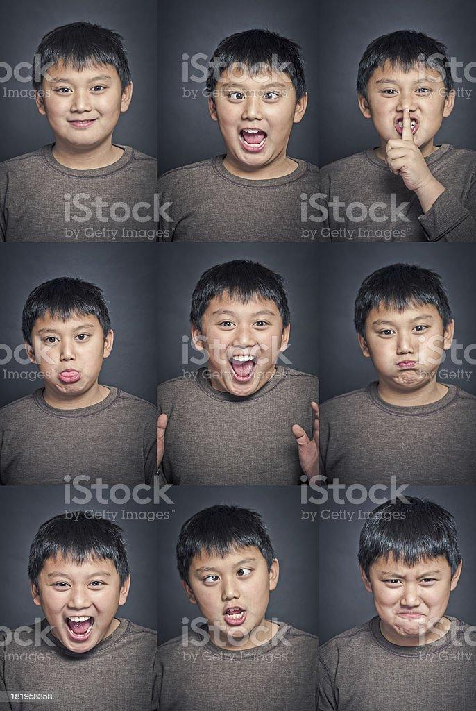 Child facial expression set royalty-free stock photo