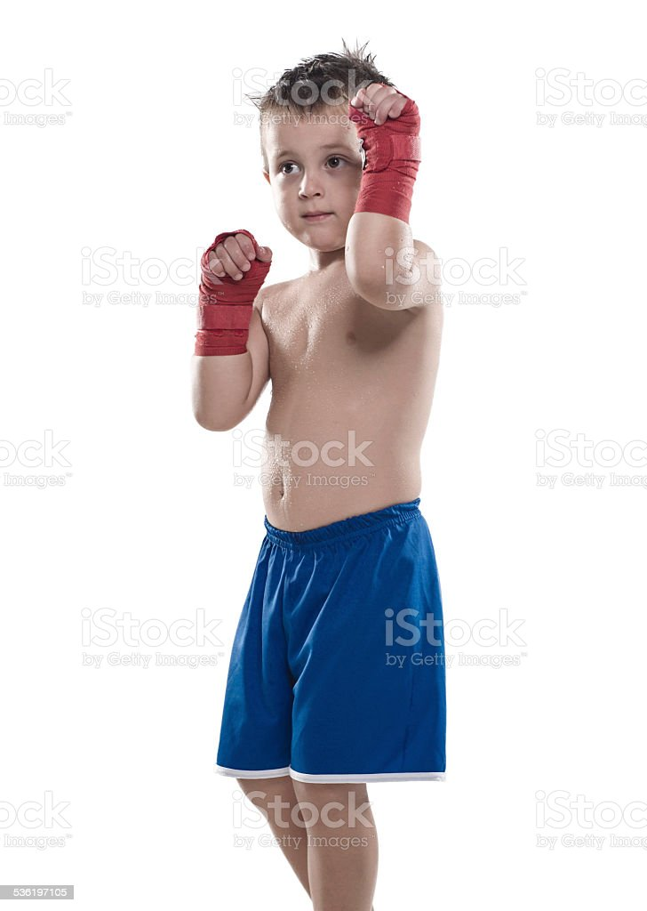 Child fighter stock photo