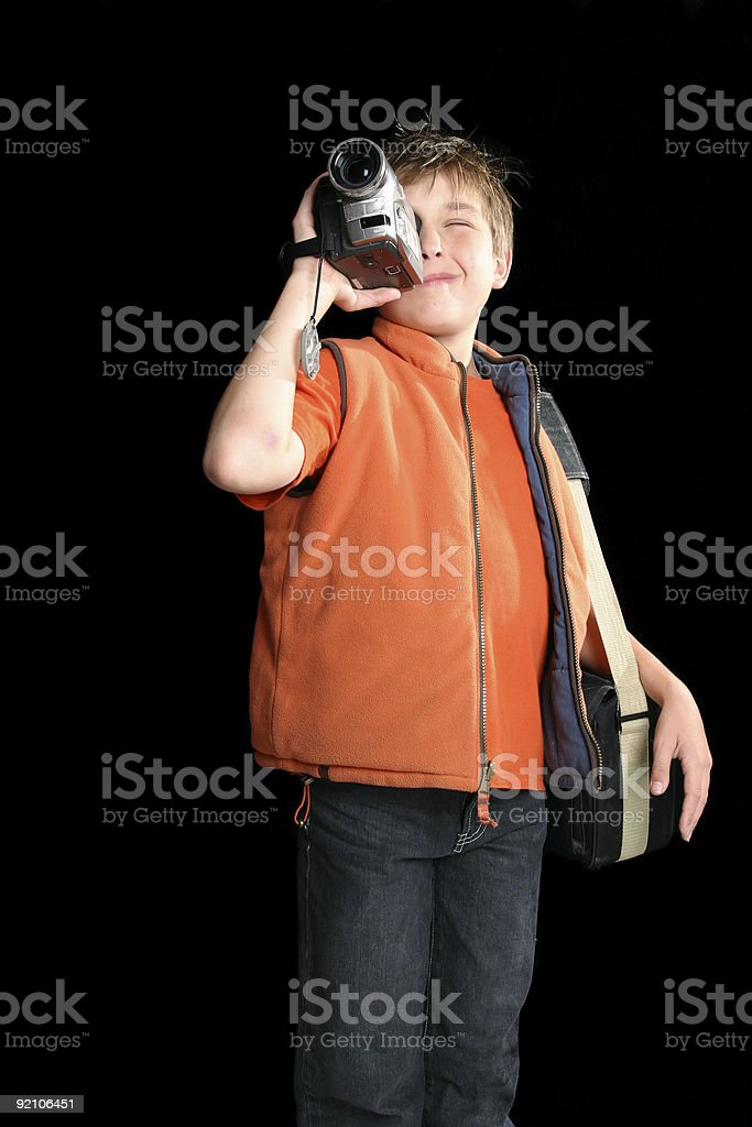 Child filming with digital video camera royalty-free stock photo
