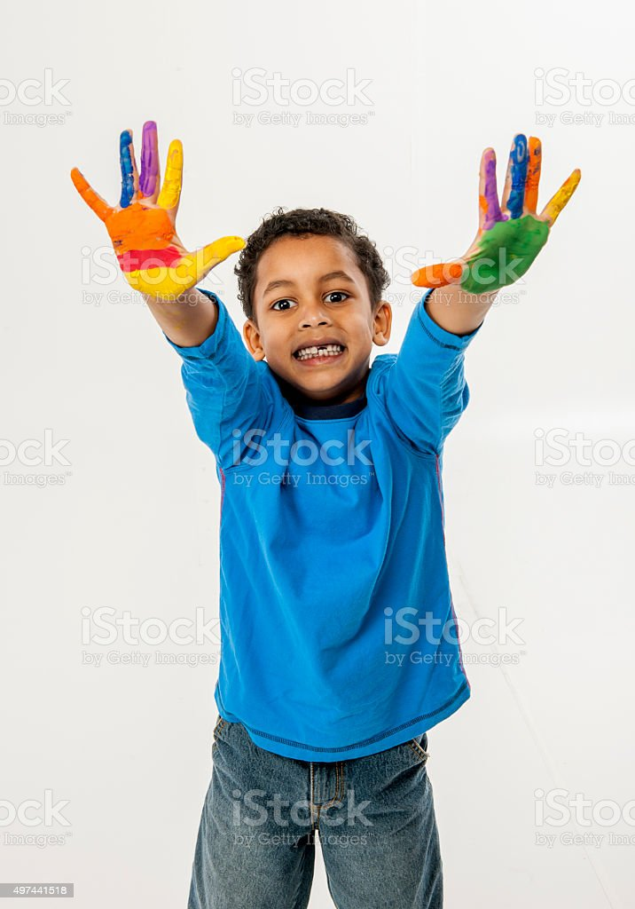 Child Finger Painting stock photo