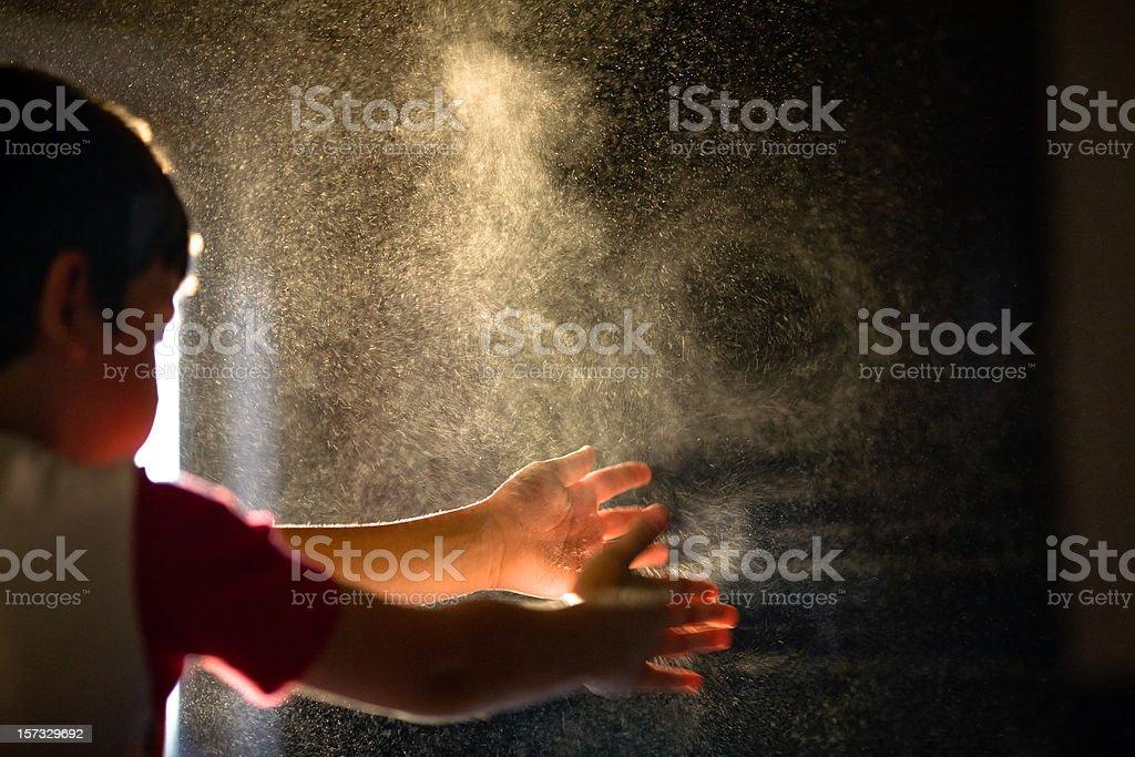 Child Flour Game stock photo