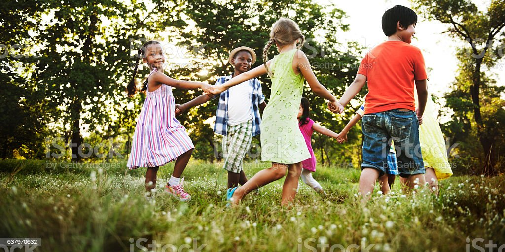 Child Friends Boys Girls Playful Nature Cheerful Concept stock photo