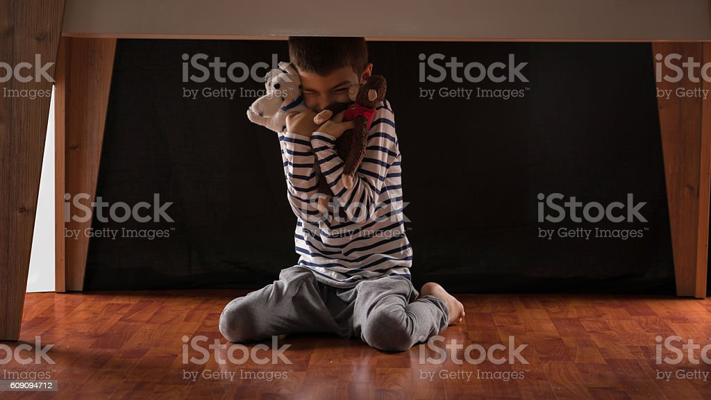 Child  frightened stock photo