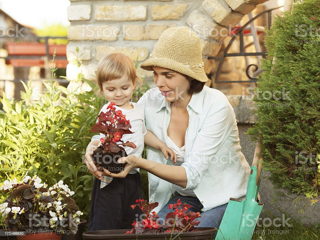 Child gardening with his mommy royalty-free stock photo