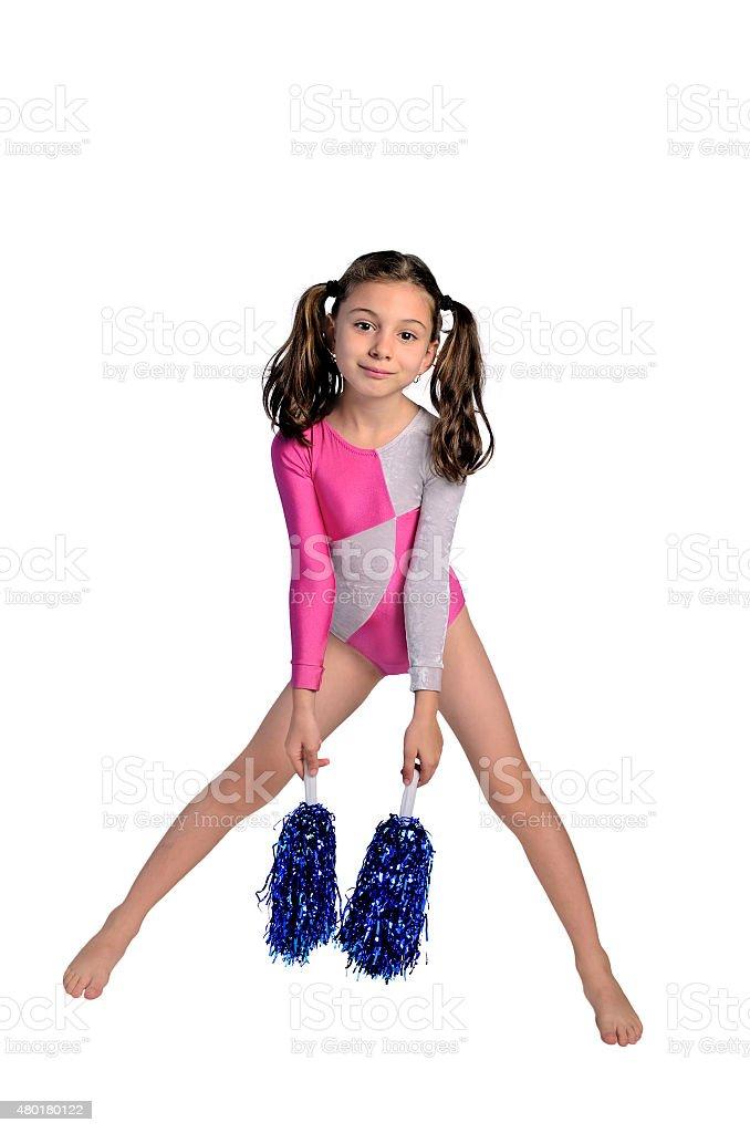 child girl gymnastic pompom stock photo