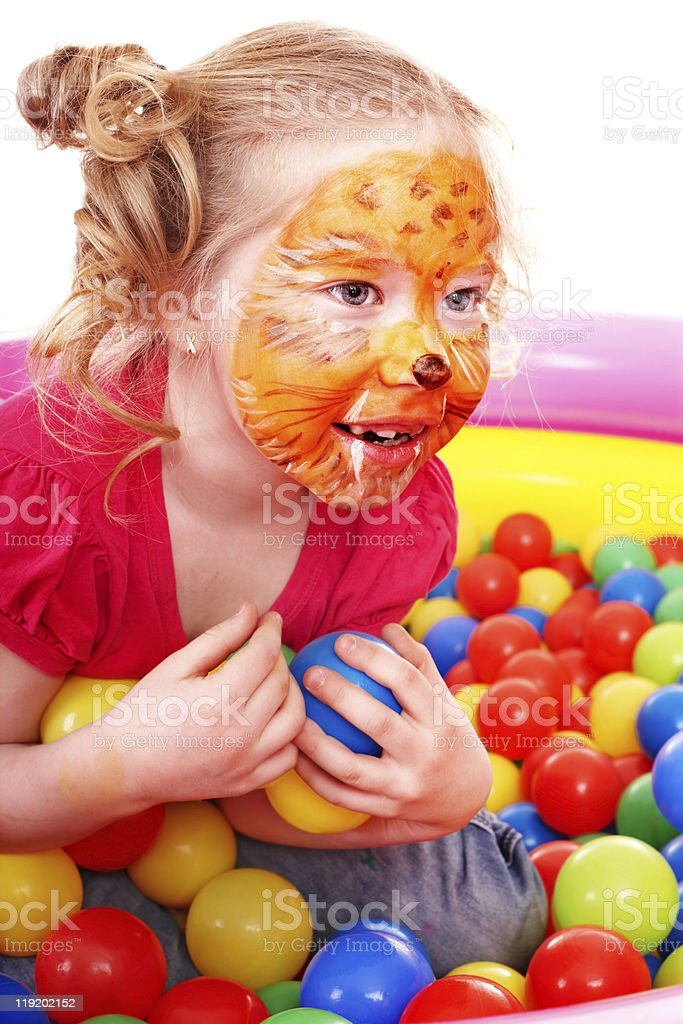 Child girl with face painting. royalty-free stock photo