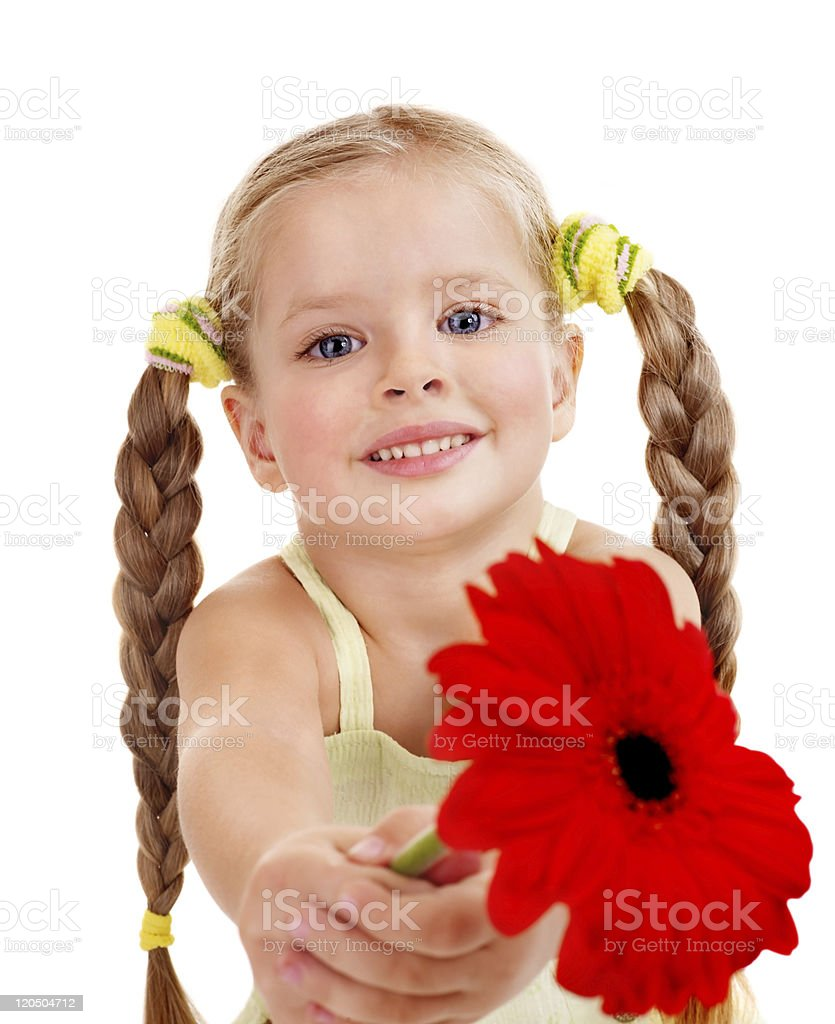 Child giving flower. royalty-free stock photo