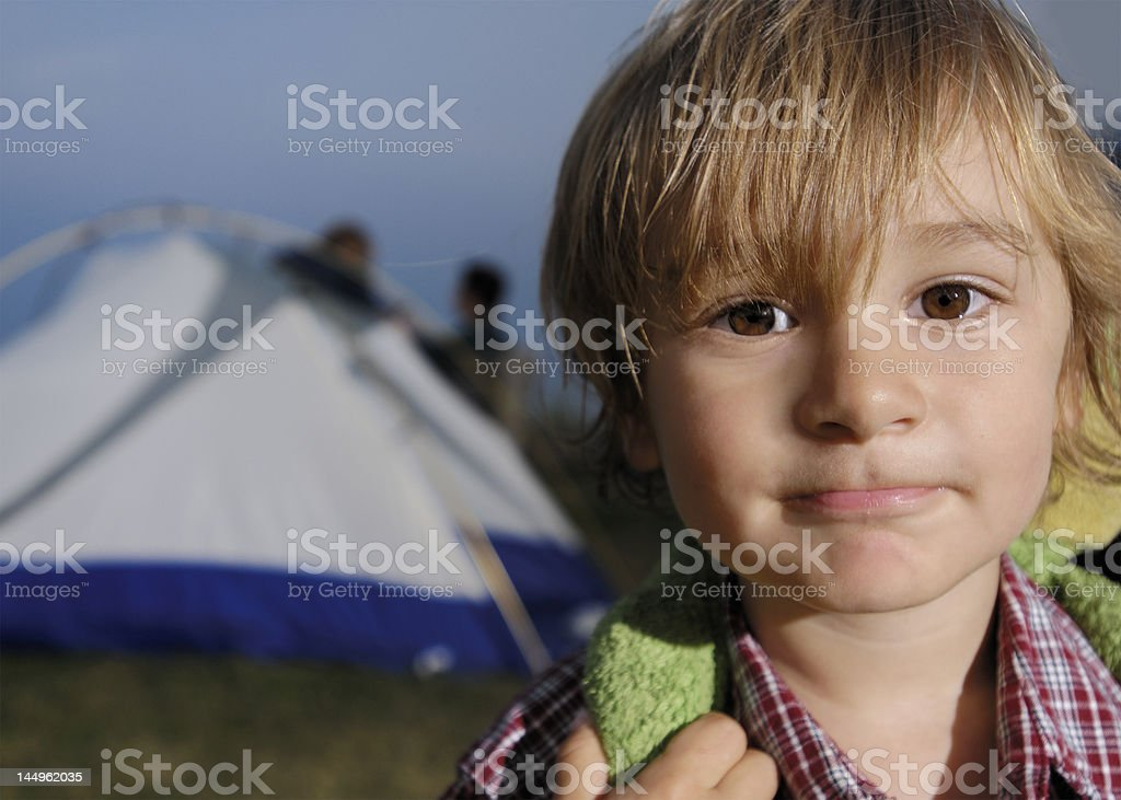 Child going camping royalty-free stock photo