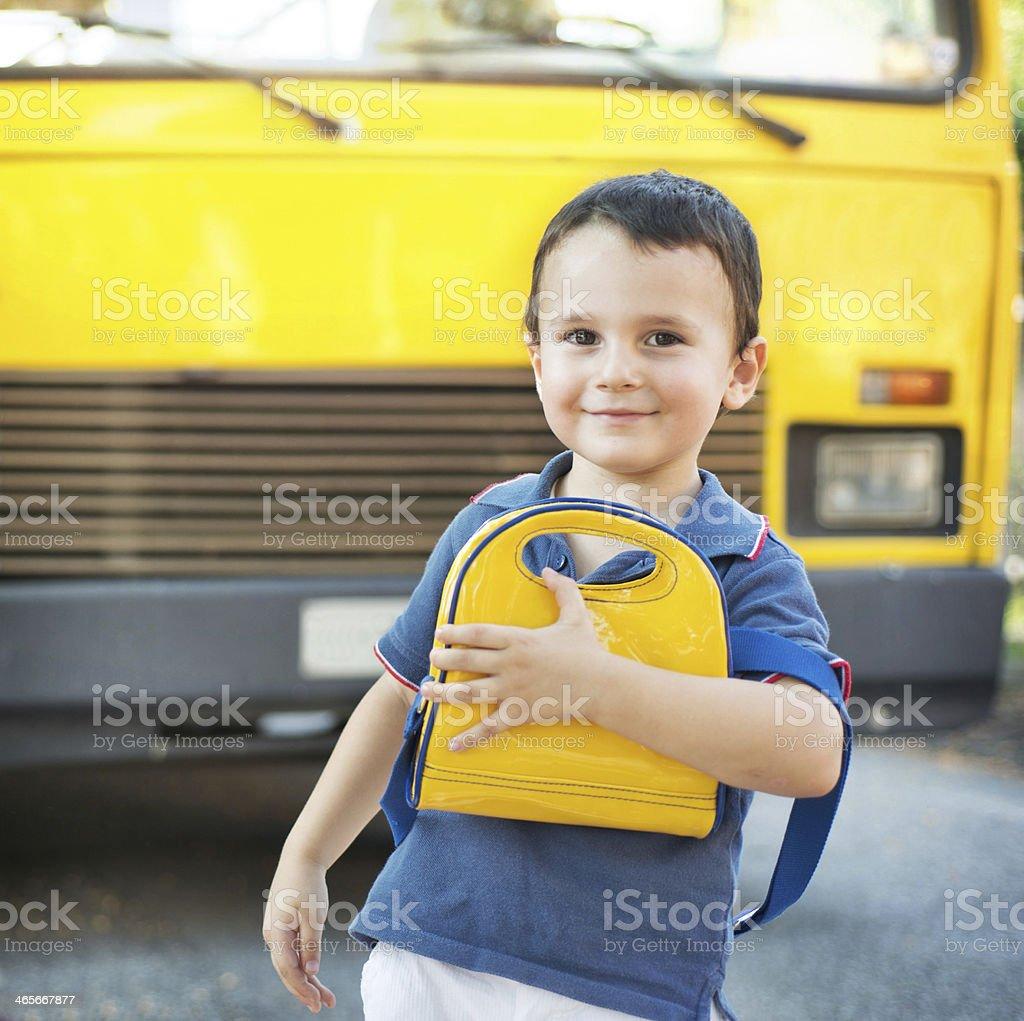 Child going to school stock photo