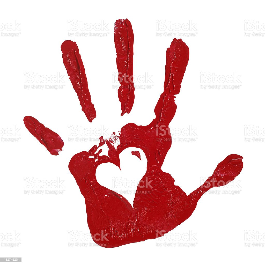 Child Hand Print with Red Paint and Heart Shape royalty-free stock photo