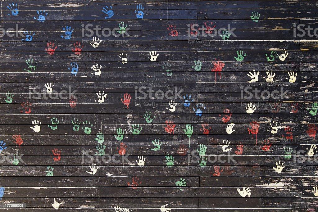 Child handprints royalty-free stock photo