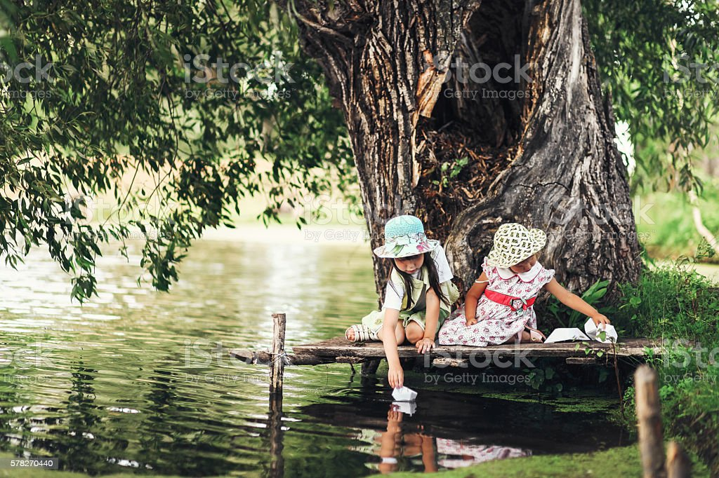Child happy outdoors. stock photo
