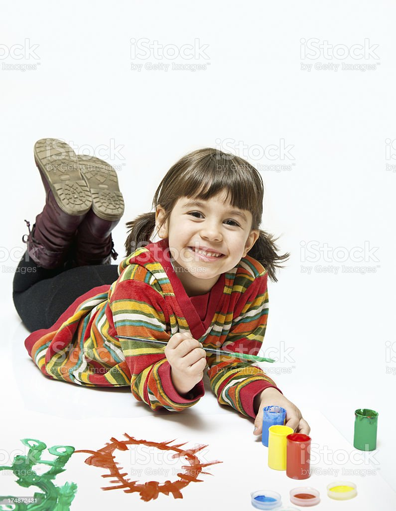 Child happy painting royalty-free stock photo