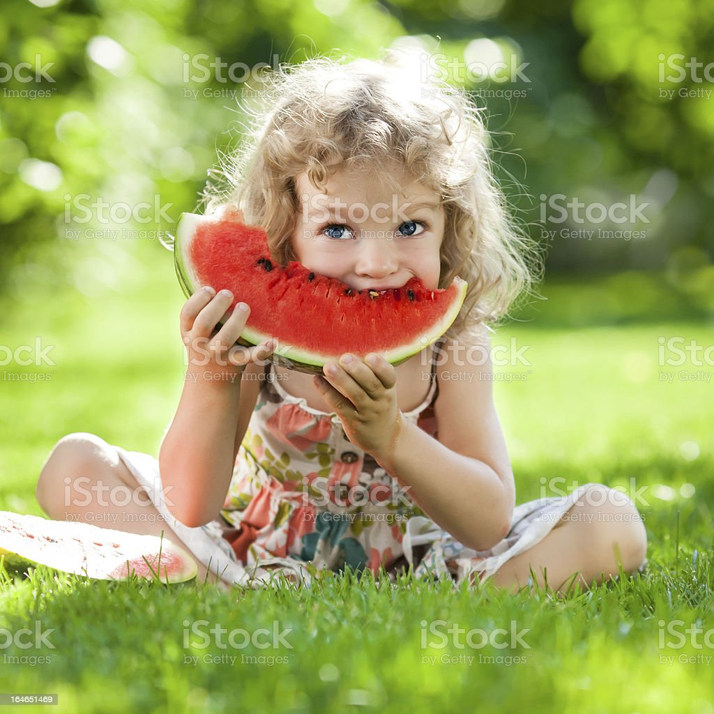 Child having picnic stock photo