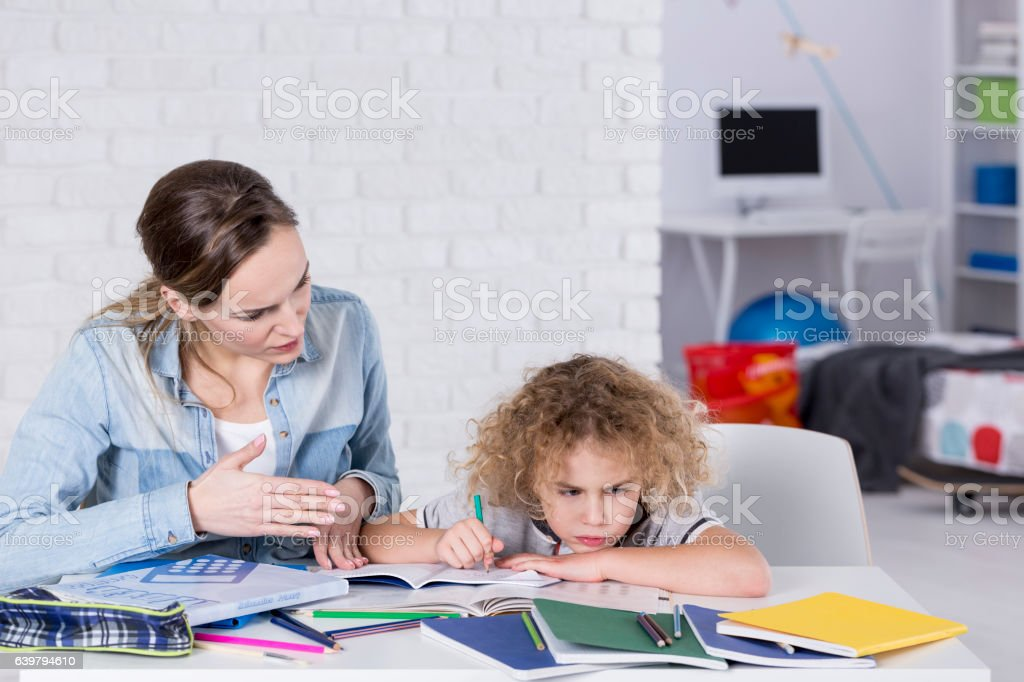 Child having problem with concentration stock photo
