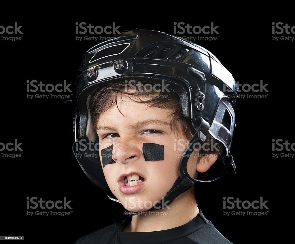 Child hockey player stock photo