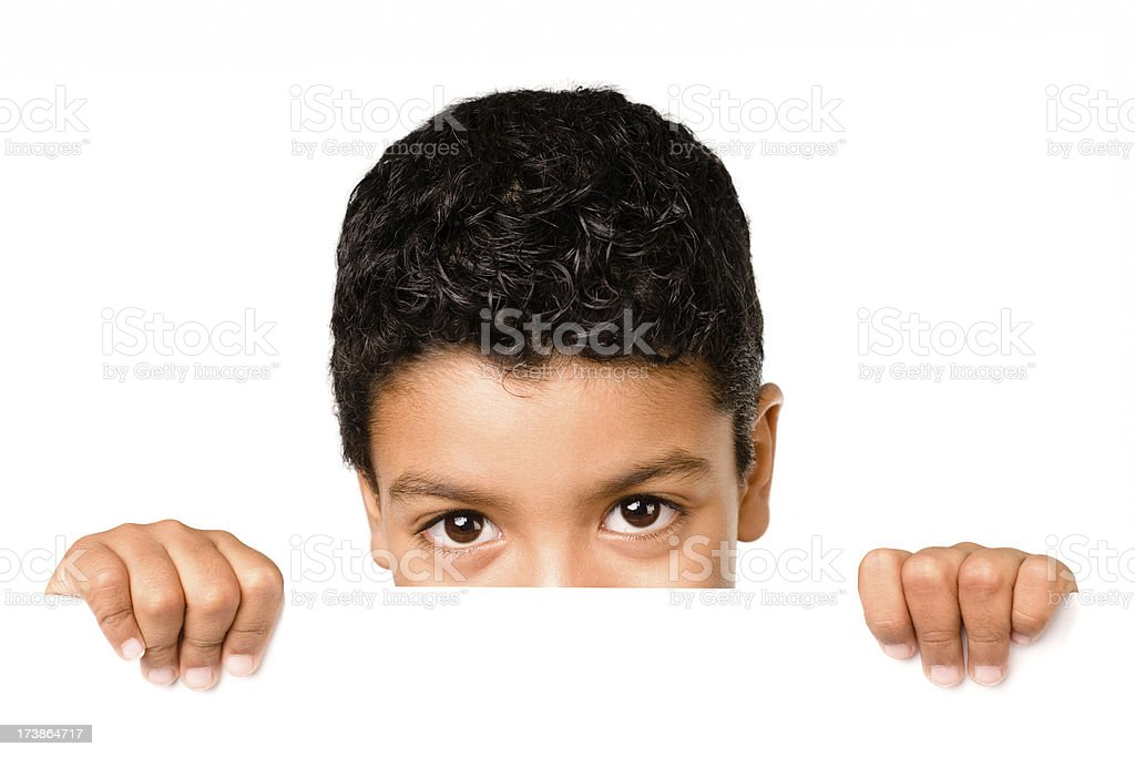 Child holding a blank paper royalty-free stock photo