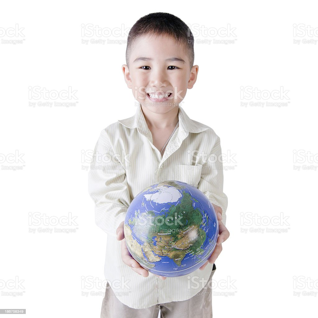 Child holding the earth on a white background royalty-free stock photo