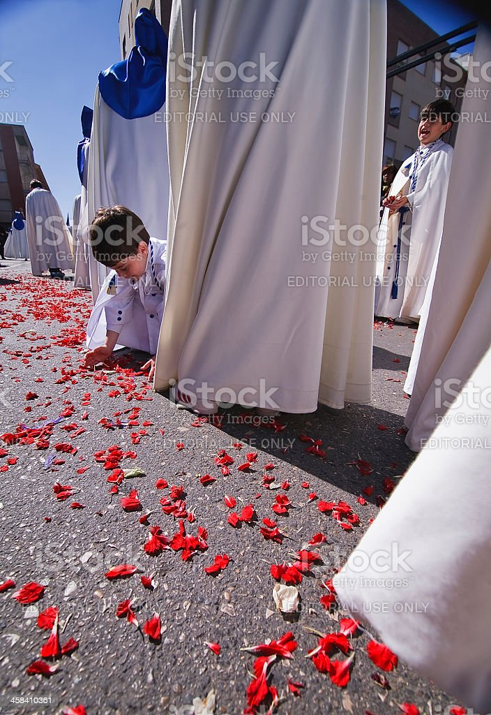Child holding the ground rose petals royalty-free stock photo