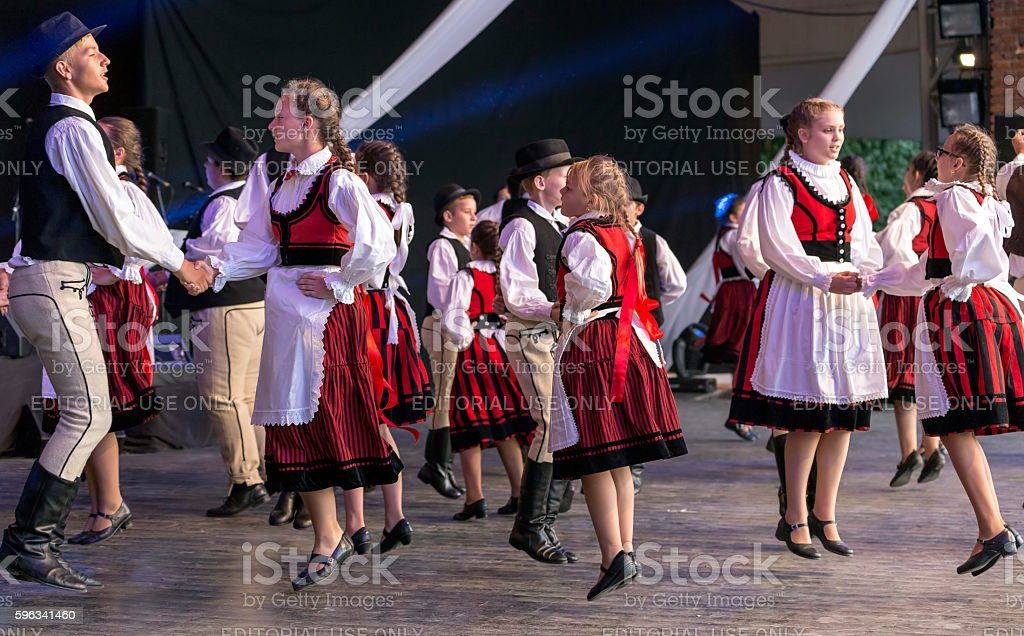 Child Hungarian dancers in traditional costume stock photo