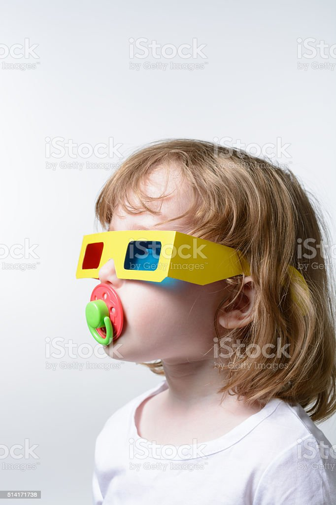 Child in 3D glasses stock photo