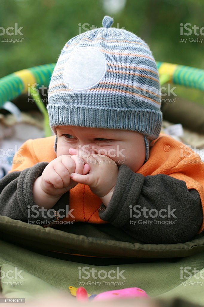 Child in a carriage royalty-free stock photo