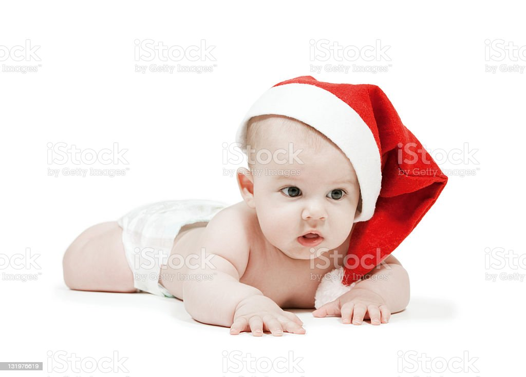 child in a hat of Santa Claus royalty-free stock photo