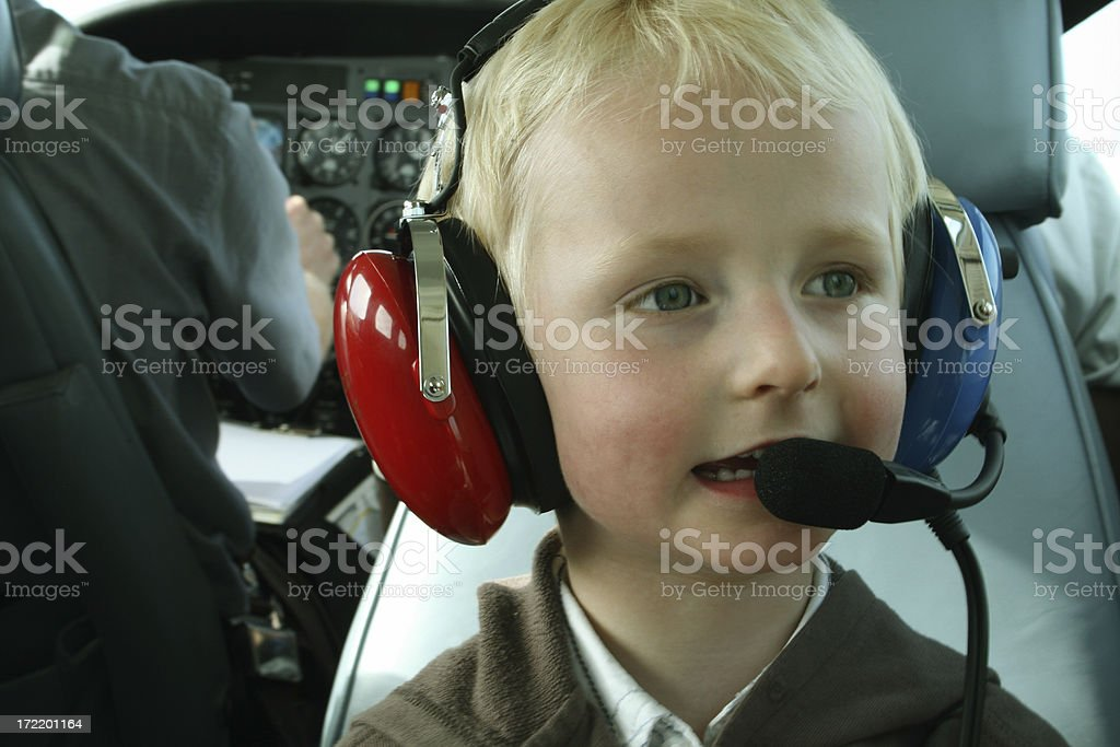 Child in a plane royalty-free stock photo