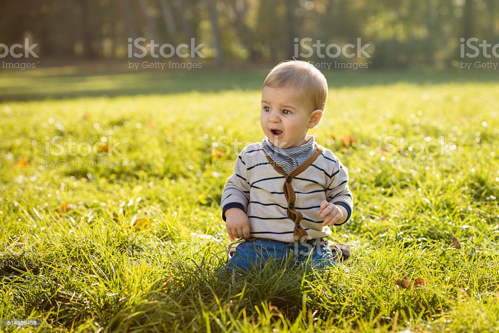 Child in autumn colors stock photo