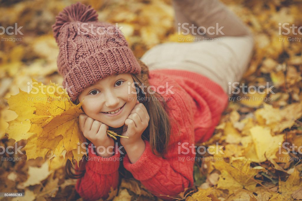 Child in autumn royalty-free stock photo