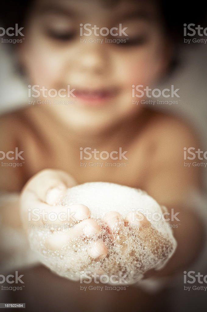 Child in bubble bath ( serie ) royalty-free stock photo