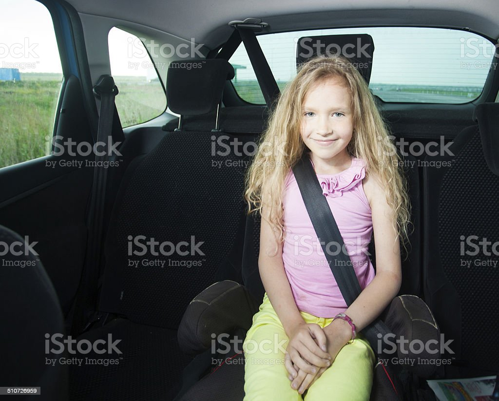 Child in car stock photo