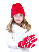 Child in gloves stretching empty hands xmas concept isolated.