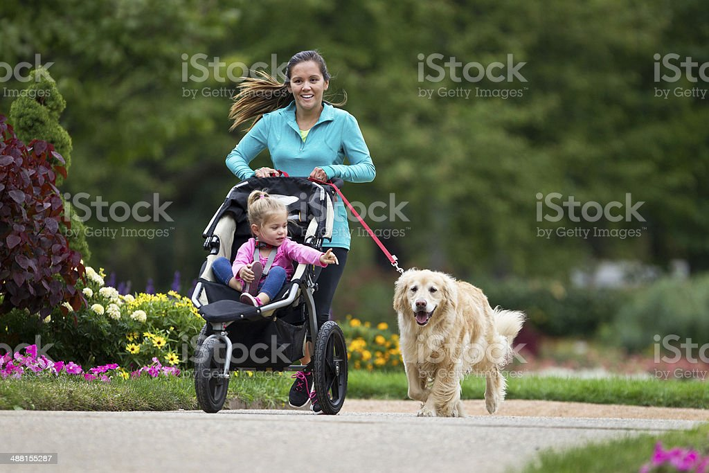 Child in Jogging Stroller stock photo