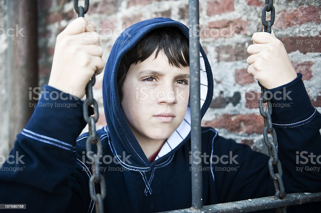Child in juvenile detention stock photo