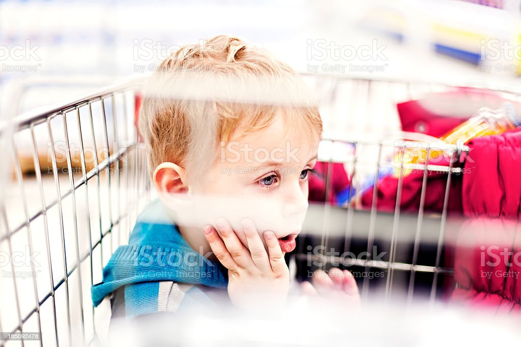 Child in shopping cart royalty-free stock photo