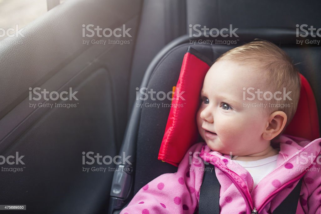 Child in the car stock photo