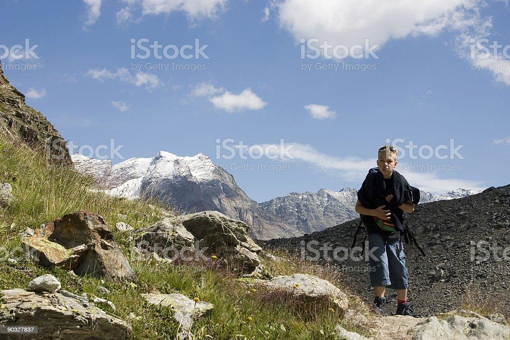 Child in the Italian Alps royalty-free stock photo