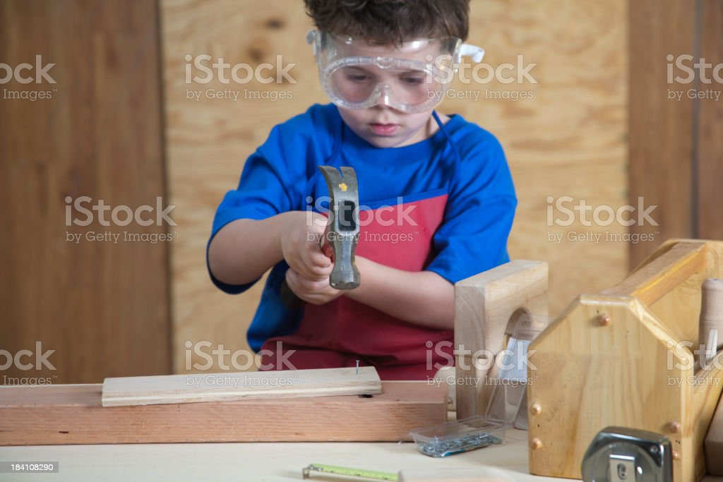 Child in the Workshop royalty-free stock photo