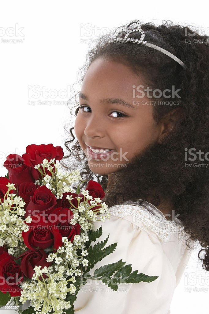 Child in Tiara with Roses stock photo