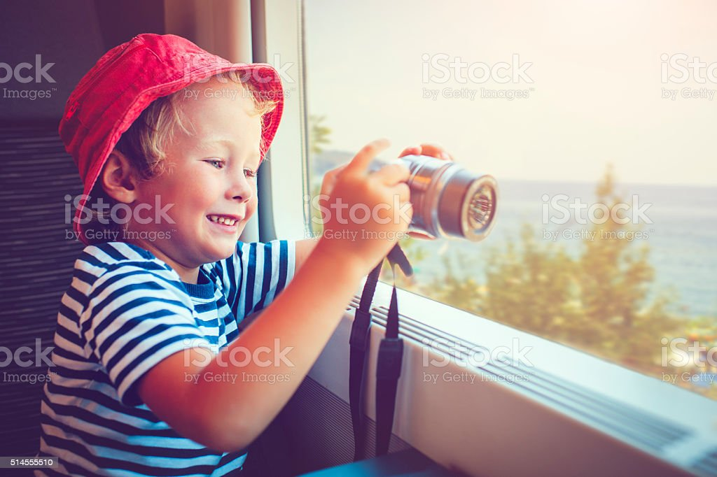 Child in train stock photo