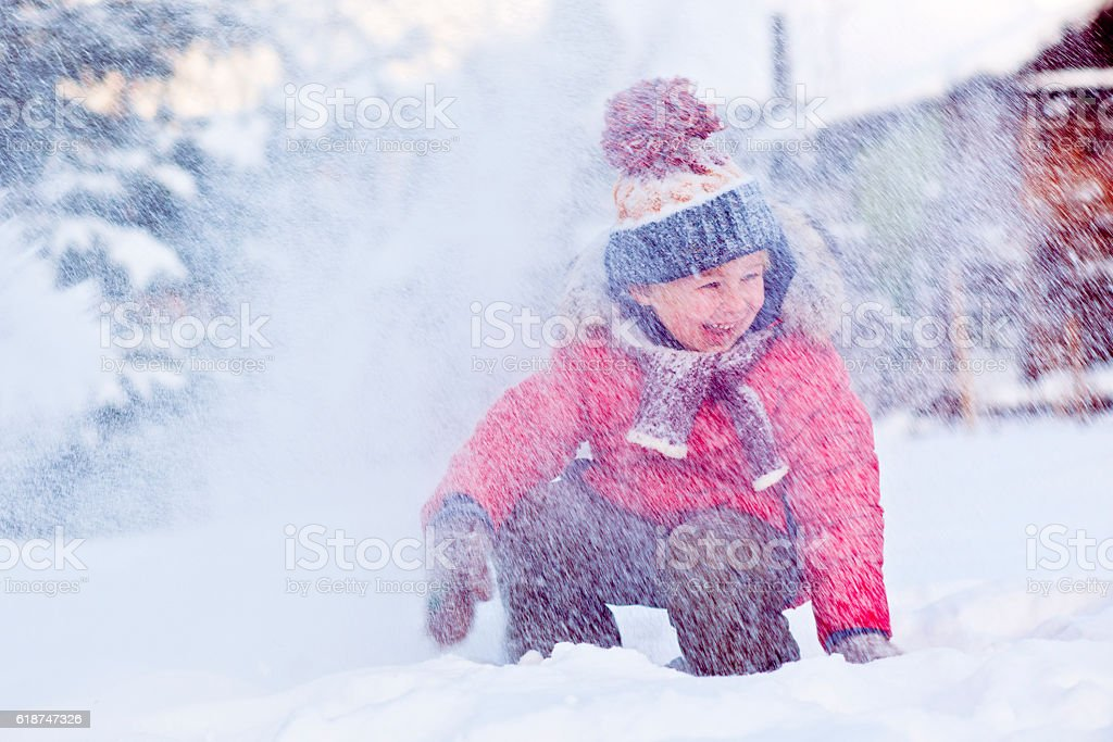 Child in winter stock photo
