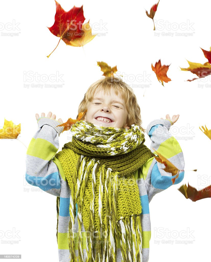 Child in woolen scarf playing with maple leaves royalty-free stock photo
