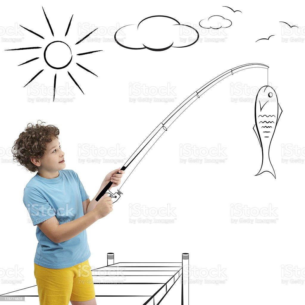 Child is fishing stock photo