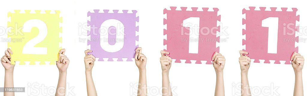 Child is holding 2011, new year concept stock photo