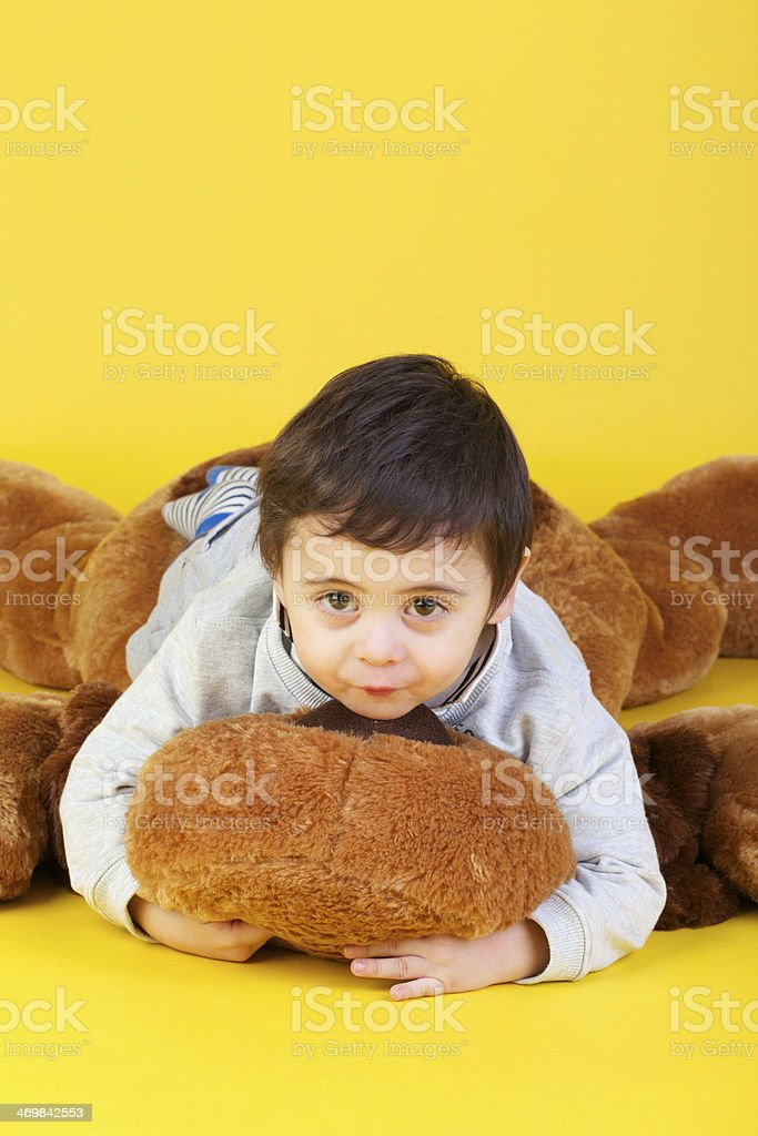 child isolated on yellow royalty-free stock photo