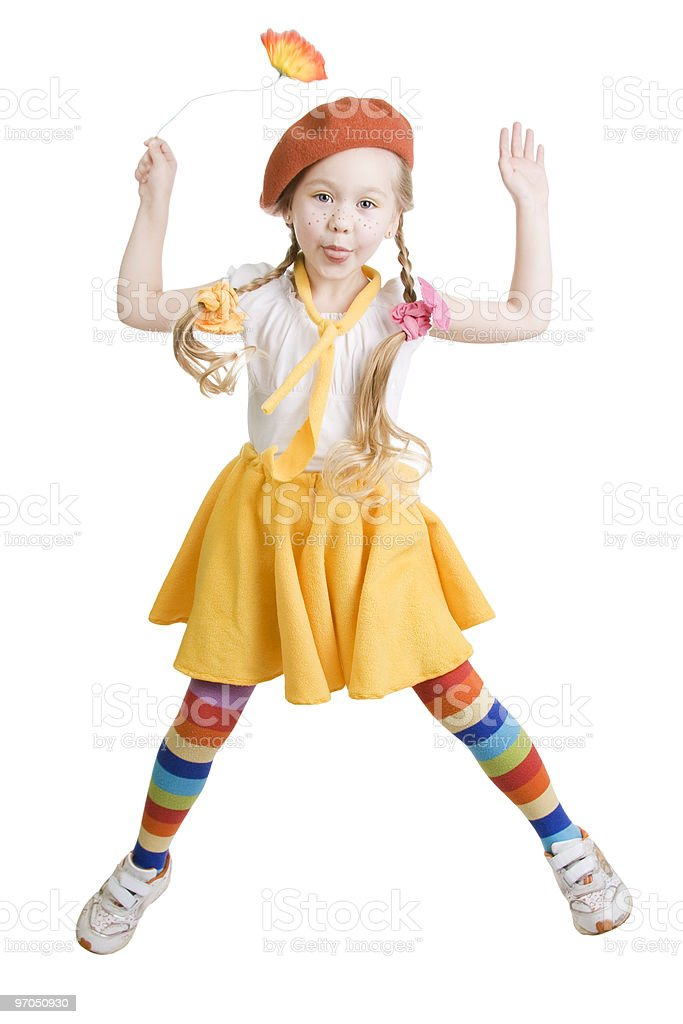 Child jumps and fun. royalty-free stock photo