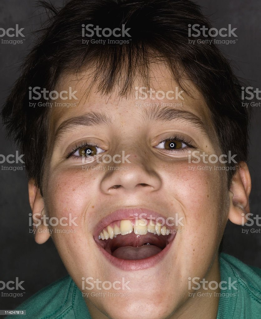Child laughing closes up stock photo